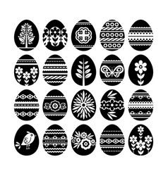 Silhouettes of black easter eggs isolated on vector