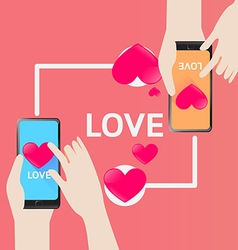 Smartphone send Heart for love in Valentine Day vector image