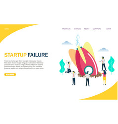 Startup failure website landing page design vector