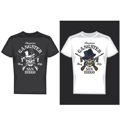 T-shirt design samples with a skull with guns vector