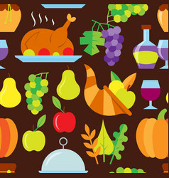 Thanksgiving day flat seamless pattern vector