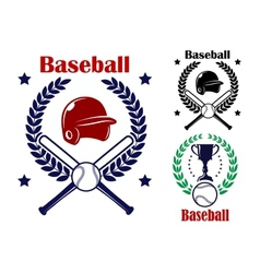 Three Baseball emblems or badges vector