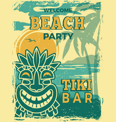 Tiki bar poster hawaii beach summer party vector