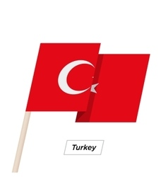 Turkey Ribbon Waving Flag Isolated on White vector image
