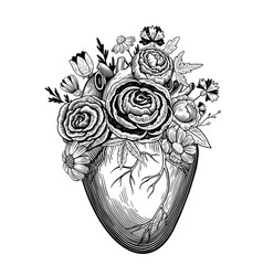 Vintage heart with flowers vector
