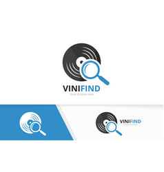 vinyl and loupe logo combination record vector image