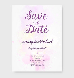 wedding invitation template with watercolor vector image