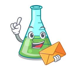 With envelope science beaker character cartoon vector