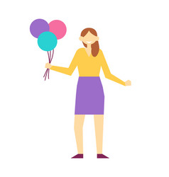 woman with balloons poster vector image