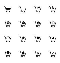black shopping cart icons set vector image vector image
