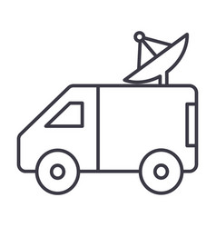 broadcasting car with satellite dish line vector image