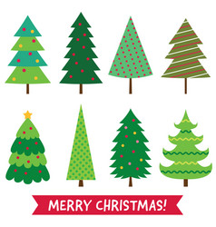 christmas trees isolated set vector image