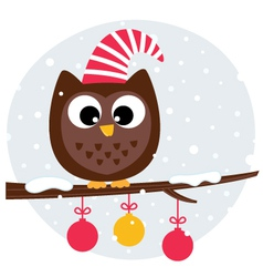 Cute christmas owl sitting on the branch vector image vector image