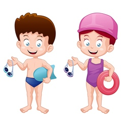Kids swiming vector image vector image
