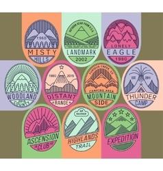 Mountain badges linear 2 mono vector image vector image