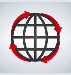 round red arrows around world planet icon digital vector image