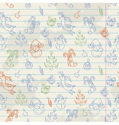 Seamless Christmas hand drawn pattern vector image vector image