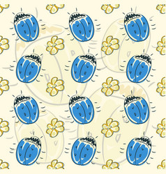 Seamless pattern flower and beetle vector