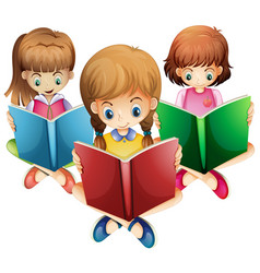 three girls reading books vector image vector image