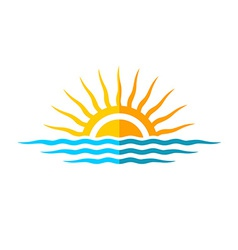 Travel logo template Sun with sea waves vector image