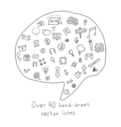 Collection of more than 40 Hand drawn Icons vector image
