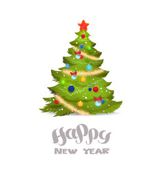 decorated christmas tree isolated on white vector image