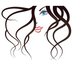 face of the young girl silhouette vector image