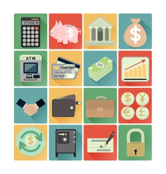 flat icons finance set vector image vector image
