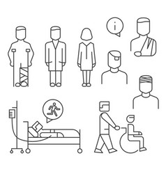 hospital patients line icons set isolated on white vector image