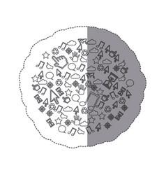 Sticker pattern monochrome communication tech vector