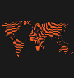 world map of orange concentric rings on dark grey vector image vector image