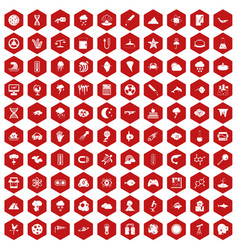 100 research icons hexagon red vector