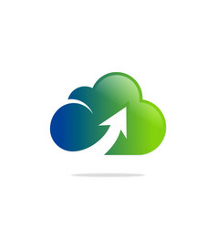 cloud upload colored technology logo vector image vector image