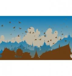Eastern bird city vector image