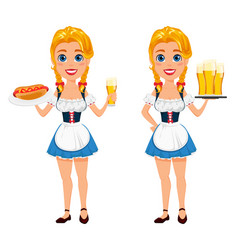 oktoberfest with sexy redhead girl holding beer vector image vector image