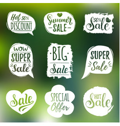 set of sale lettering in comic speech vector image