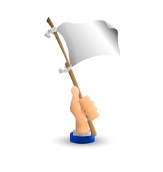 Arm Business hand The white flag in his hand vector image