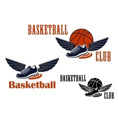 Basketball icons with winged sneakers and balls vector image vector image