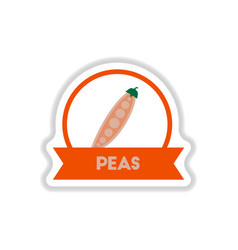 label icon on design sticker collection peas with vector image vector image