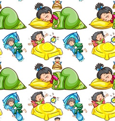 Seamless background with kids sleeping vector image vector image