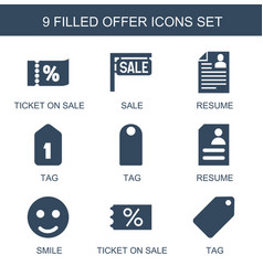 9 offer icons vector image