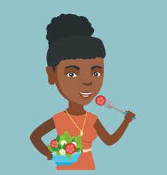 African woman eating healthy vegetable salad vector