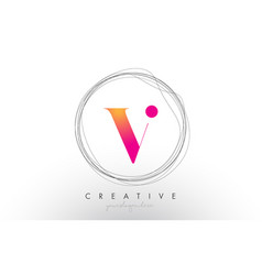 Artistic v letter logo design with creative vector