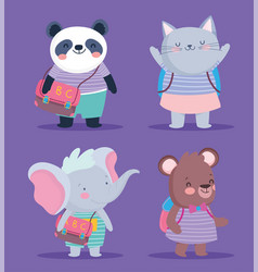 back to school cute animals striped clothes and vector image