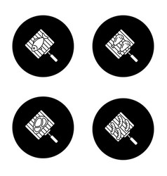barbecue glyph icons set vector image