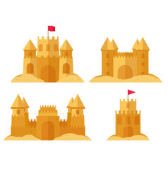 Beach sandcastle set vector