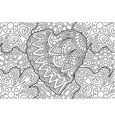 beautiful coloring book page with shape of heart vector image