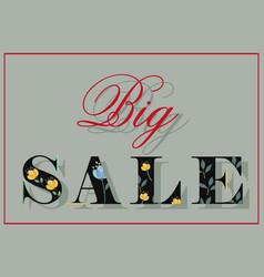 Big sale black floral font vector