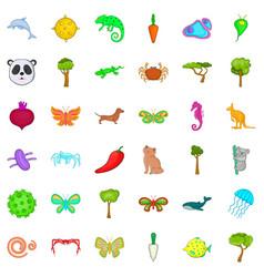 Biologically icons set cartoon style vector