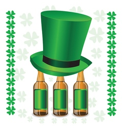 bottles of beer and green hat vector image